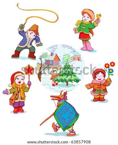 vector illustration, eastern europe carolers , cartoon concept. - stock vector