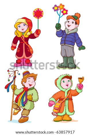 vector illustration, eastern europe carolers, cartoon concept, white background. - stock vector
