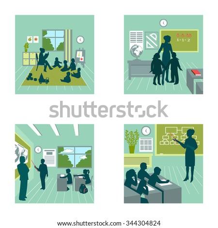 vector illustration. Education. student. teacher. Set.  - stock vector