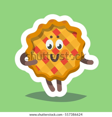 pie face holiday. vector illustration emoticon emoji icon on theme of autumn holiday happy thanksgiving day pie face