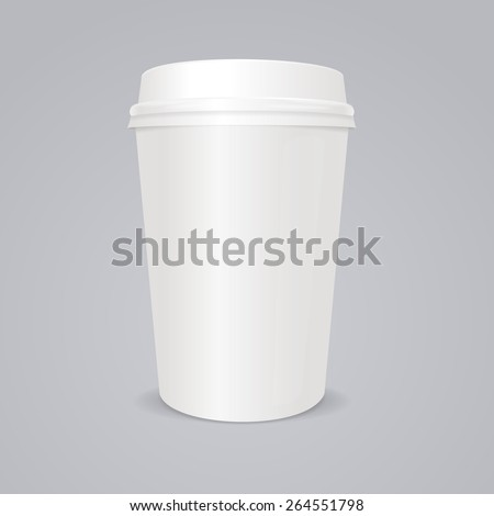 Vector illustration empty coffee paper cup with lid on gray background - stock vector