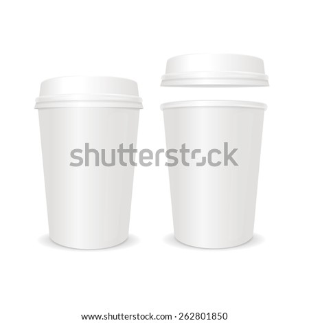 Vector illustration empty coffee paper cup with lid set. For business - stock vector