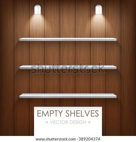 Vector illustration. Empty silver shelves on a wooden background with light lamp. Brown color. - stock vector