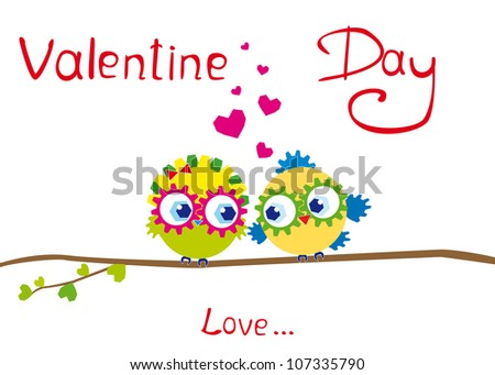 Vector Illustration enamoured bird to the Valentine's day - stock vector