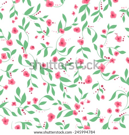 vector illustration. EPS10. Floral seamless pattern with flowers and leaves - stock vector