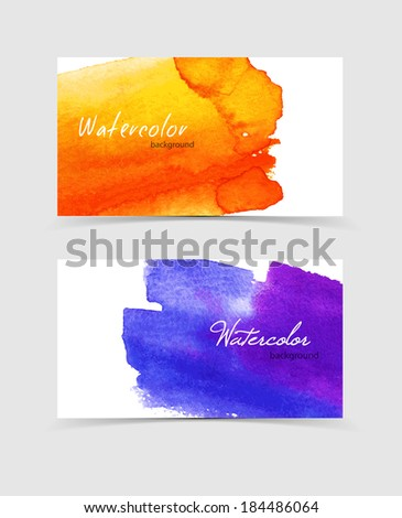 Vector illustration (eps 10) of Watercolor design cards - stock vector