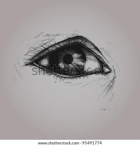 Vector illustration, eye woman sketch, card concept. - stock vector