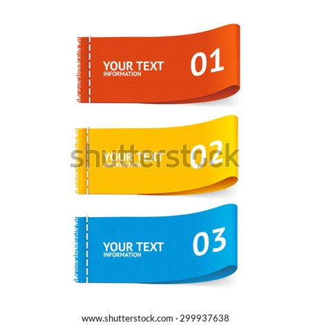 Vector illustration fabric clothing labels option banner, horizontally - stock vector