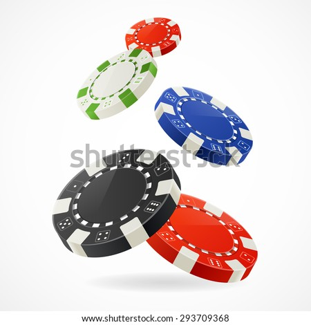 Vector illustration Falling down over Gambling Poker Chips - stock vector