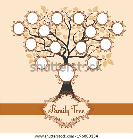 Vector illustration family tree - stock vector