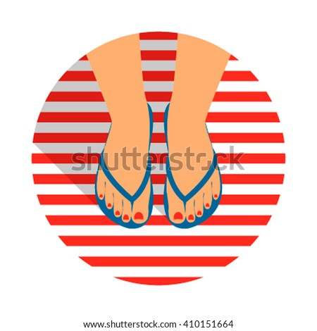 Vector illustration female feet with a pedicure in the summer flip-flops. flat vector illustration isolated on white background
