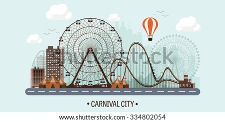 Vector illustration. Ferris wheel. Carnival. Funfair background. Circus park.  Skyscrapers with roller coast. - stock vector