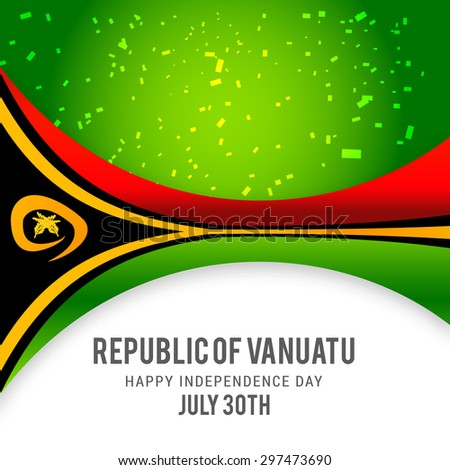 "Vector illustration festive banner with flag of The Vanuatu and an inscription ""Republic of Vanuatu Happy Independence Day July 30th"""