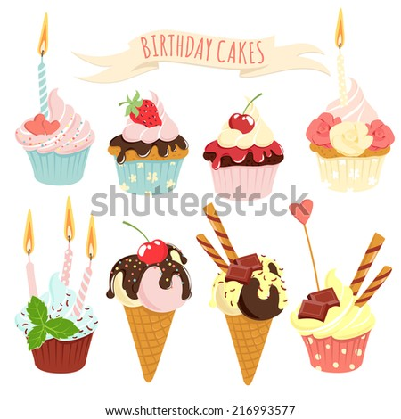 Vector illustration Festive birthday cakes  and ice-cream set