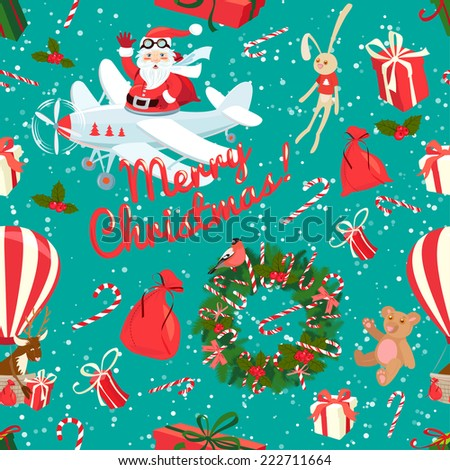Vector illustration Festive Christmas and New Year seamless pattern in vintage flat style. - stock vector