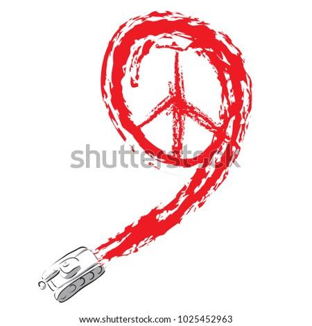 Vector Illustration Figure 9 Symbol Peace Stock Vector 1025452963