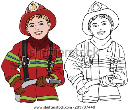 Vector illustration, fireman, coloring drawing, card concept, white background.