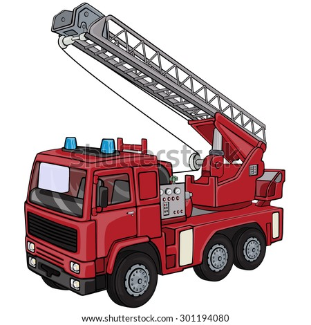 Vector illustration, firetruck, cartoon concept, white background.