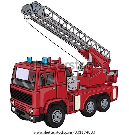 Vector illustration, firetruck, cartoon concept, white background. - stock vector