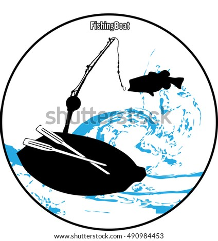 Vector illustration.Fishing Boat and fish