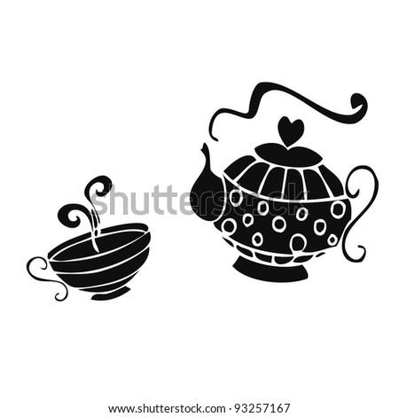 Vector illustration, five o'clock tea, card concept, white background. - stock vector