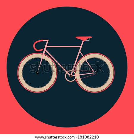 vector illustration fixed gear bicycle (fixie) - stock vector