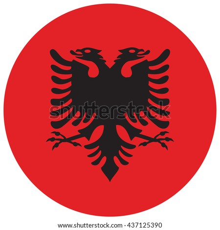 Vector illustration flag of Albania icon. Round national flag of Albania. Albania flag button - stock vector