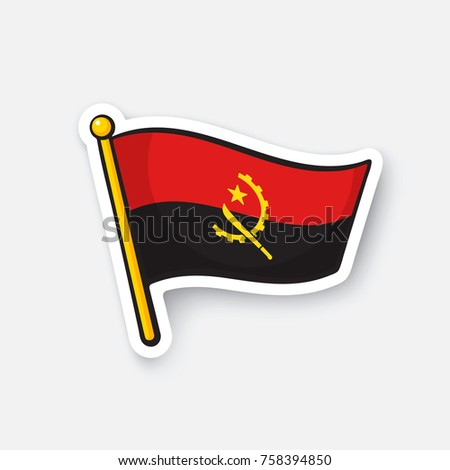 Vector illustration. Flag of Angola. Countries in Africa. Location symbol for travelers. Isolated on white background. Cartoon sticker with contour. Decoration for greeting cards, patches, prints