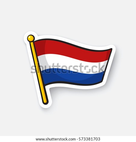 Flag of the netherlands on flagstaff location symbol for travelers cartoon