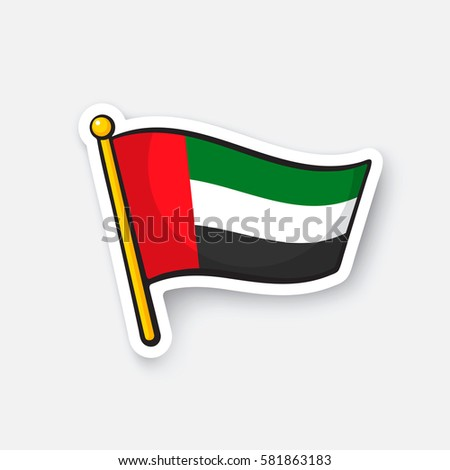 Flag of the united arab emirates location symbol for travelers cartoon