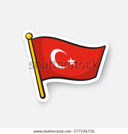 Flag of turkey on flagstaff location symbol for travelers cartoon sticker