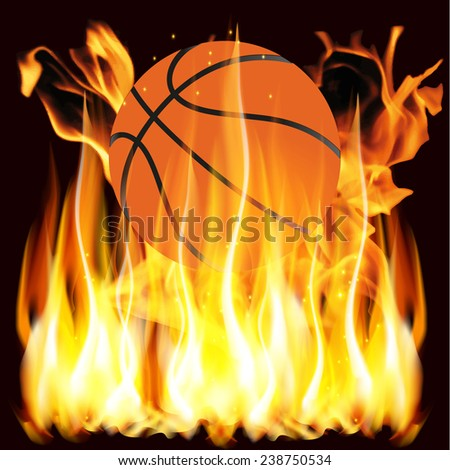 Vector illustration flames and basketball - stock vector