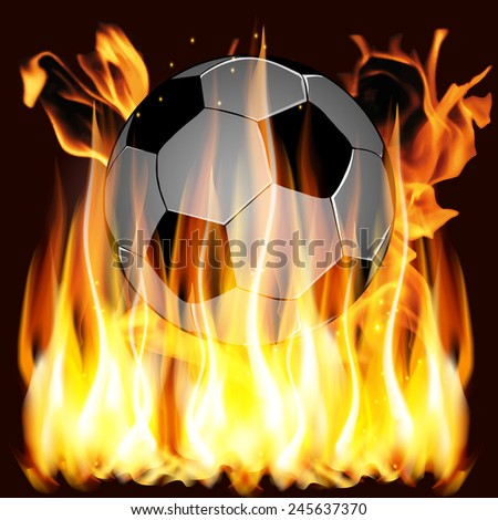 vector illustration flames and Soccer ball - stock vector
