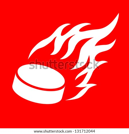 vector illustration flaming hockey pucks - stock vector