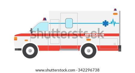 Vector illustration flat ambulance car emergency auto - stock vector
