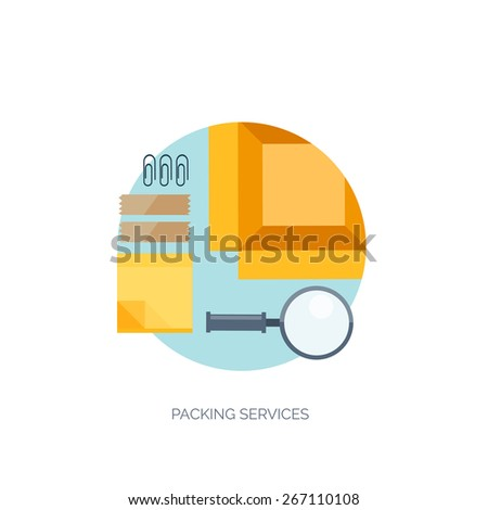 Vector illustration. Flat background. Delivery and package. Courier.  Loupe, sticky notes. Packaging.  - stock vector