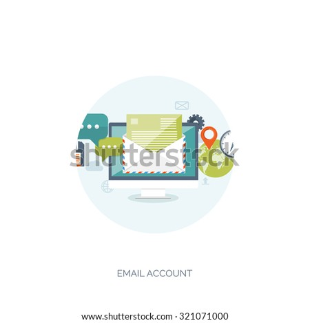 Vector illustration. Flat background. Envelope. International communication. Business correspondence and private messages. Express delivery. Postal services. Chatting. - stock vector