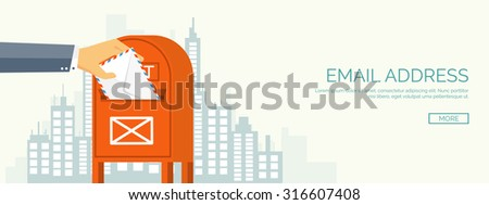 Vector illustration. Flat background. Hand with postbox. Envelope. International communication. Business correspondence and private messages. Express delivery. Postal services. Chatting. - stock vector