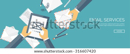 Vector illustration. Flat background.Hand with tablet and documents. Envelope. International communication. Business correspondence and private messages. Express delivery. Postal services. Chatting. - stock vector