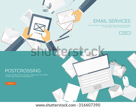 Vector illustration. Flat background. Hand with tablet, laptop. Envelope. International communication. Business correspondence and private messages. Express delivery. Postal services. Chatting. - stock vector