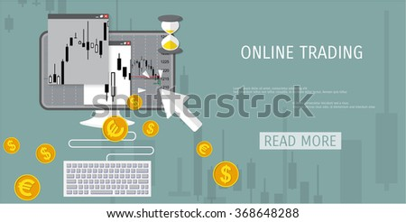 Vector illustration - flat background - market trade - trading platform and account - moneymaking - business - market analysis and investing - stock vector