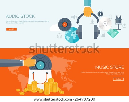 Vector illustration. Flat background. Music.production. Show business. Mp3 and compact disk. Voice recording. Singind and karaoke. Audio store. - stock vector