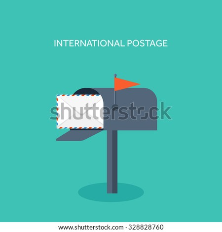 Vector illustration. Flat background. Postbox. Envelope. International communication. Business correspondence and private messages. Express delivery. Postal services. Chatting. - stock vector
