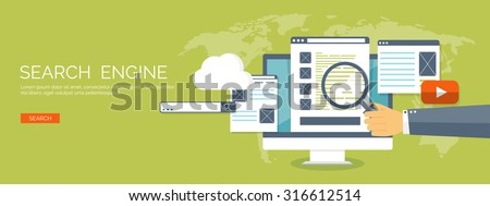Vector illustration. Flat background. SEO. Search engine optimization. App development.Web pages and bookmarks. - stock vector