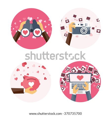 Vector illustration. Flat background with binoculars, laptop, piggy bank, photocamera, photos . Love, hearts. Valentines day. Be my valentine. 14 february.  - stock vector