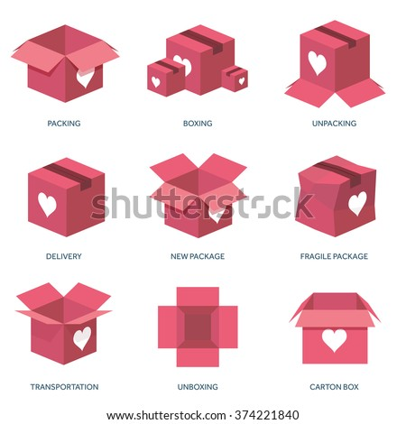 Vector illustration. Flat background with box. Love, hearts. Valentines day. Be my valentine. 14 february.  Message. - stock vector