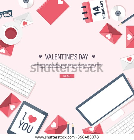 Vector illustration. Flat background with computer, laptop. Love, hearts. Valentines day. Be my valentine. 14 february.  Message. - stock vector