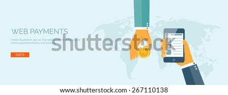 Vector illustration. Flat background with hand and bank card. Online banking. Internet shopping. Web store and pay per click. - stock vector