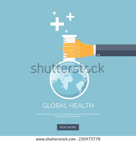 Vector illustration. Flat background with hand and flask. Globe. Global health concept background. - stock vector