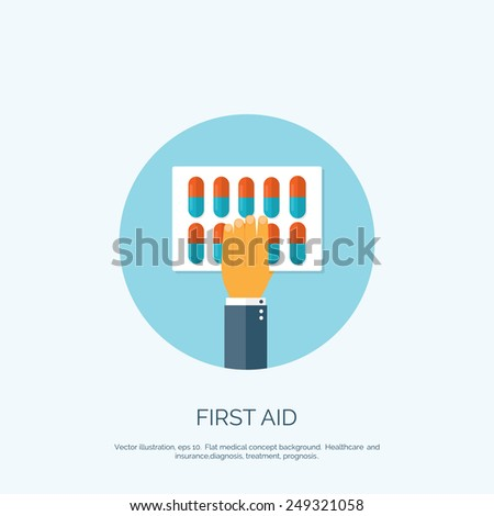 Vector illustration. Flat background with hand and medical pills. First aid. - stock vector